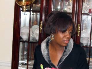 2004 Christmas Jackie checks out the cake...105_0600